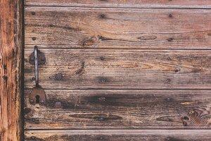Metallic handle of door is in an old house