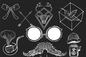 Illustration set of hipster style