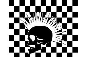 Punk skull on the black and white ba