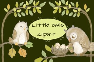 Little Owls Clipart