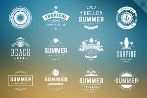 16 Summer holidays badges & labels
