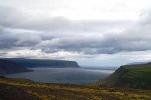 Panorama view of Arnarfjordur, Western fjords, Iceland