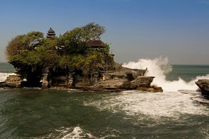 Tanah Lot temple on the rock, Bali island Indonesia
