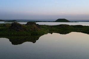 Skutustadir hills landscape, Myvatn lake area Iceland