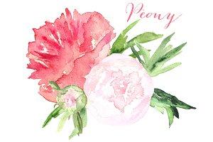 Peony watercolor clip art