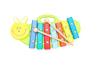 Baby wooden xylophone. Isolated