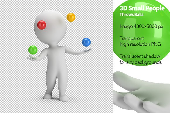 3D Small People Throws Balls