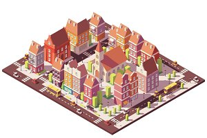 Vector low poly isometric old city center