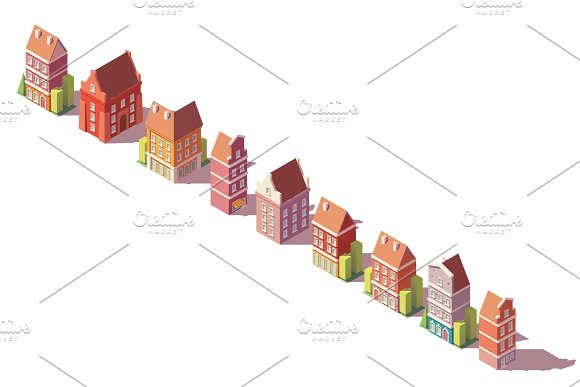 Vector Low Poly Isometric Old Buildings Set