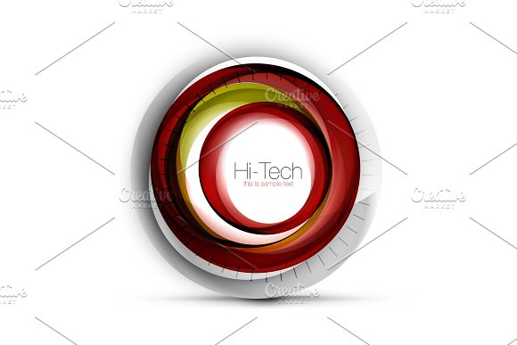 Digital Techno Sphere Web Banner Button Or Icon With Text Glossy Swirl Color Abstract Circle Design Hi-tech Futuristic Symbol With Color Rings And Grey Metallic Element