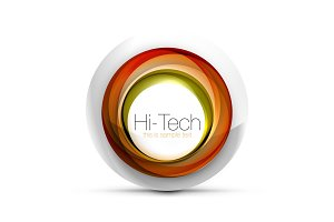 Digital techno sphere web banner, button or icon with text. Glossy swirl color abstract circle design, hi-tech futuristic symbol with color rings and grey metallic element