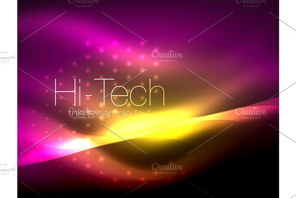 Glittering Neon Glowin Wave Techno Modern Art Abstract Background Magical Shiny Template