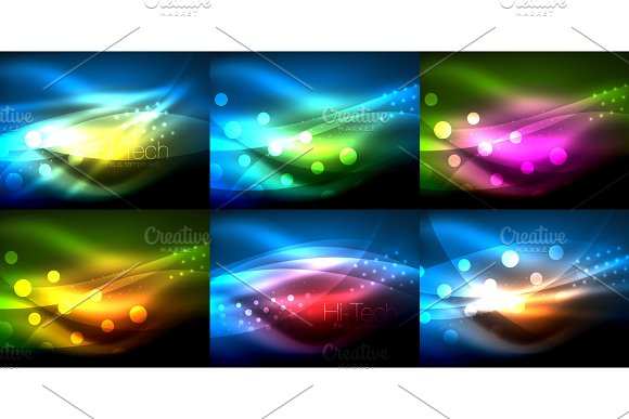 Set Of Neon Wave Backgrounds With Light Effects Curvy Lines With Glittering And Shiny Dots Glowing Colors In Darkness Vector Magic Illustrations