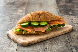 Croissant sandwich with salmon