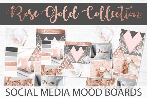 Social Media Mood Boards Rose Gold