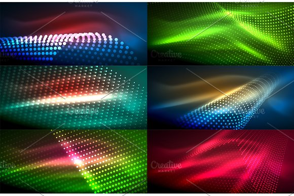 Neon Glowing Light Abstract Backgrounds Collection Mega Set Of Energy Magic Concept Backgrounds