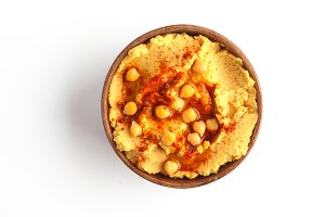 hummus, top view, isolated