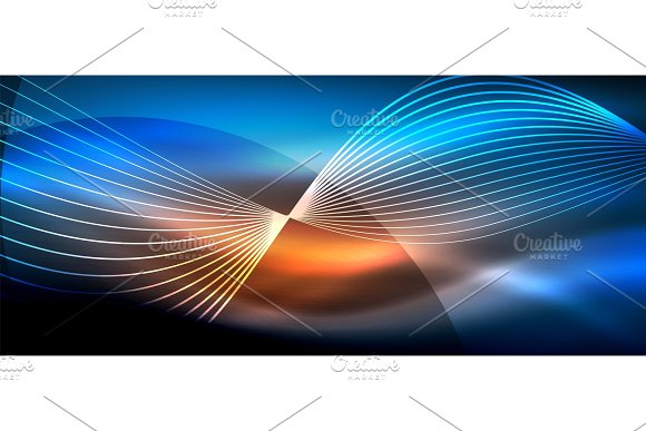 Glowing Abstract Wave On Dark Shiny Motion Magic Space Light Techno Abstract Background