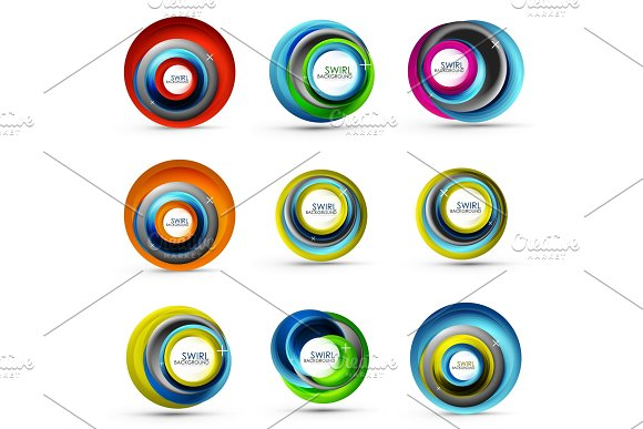 Spiral Swirl Flowing Lines 3D Vector Abstract Icon Collection
