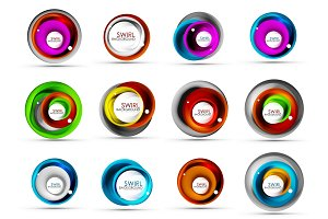 Set of spiral swirl flowing lines 3d vector abstract icon designs. Rotating concepts