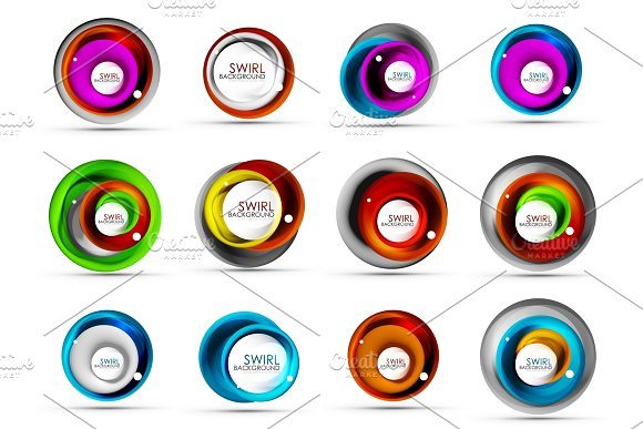 Set Of Spiral Swirl Flowing Lines 3D Vector Abstract Icon Designs Rotating Concepts