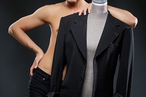 handsome young man in black jacket