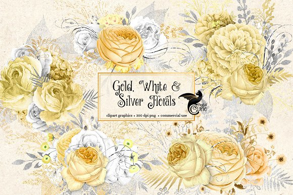 Gold White And Silver Florals