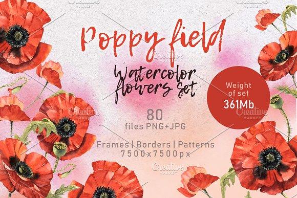 Poppy Field PNG Watercolor Set