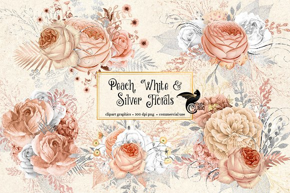 Peach White And Silver Florals