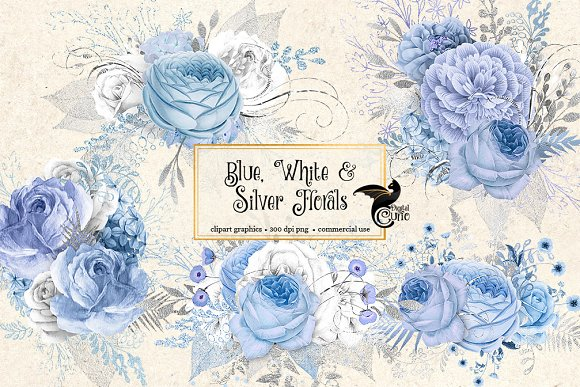 Blue White And Silver Florals