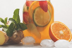Ginger orange ice tea with mint