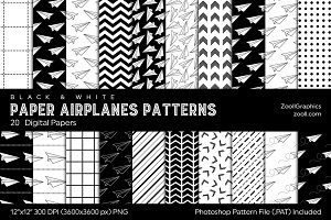 Paper Airplanes Digital Papers B&W