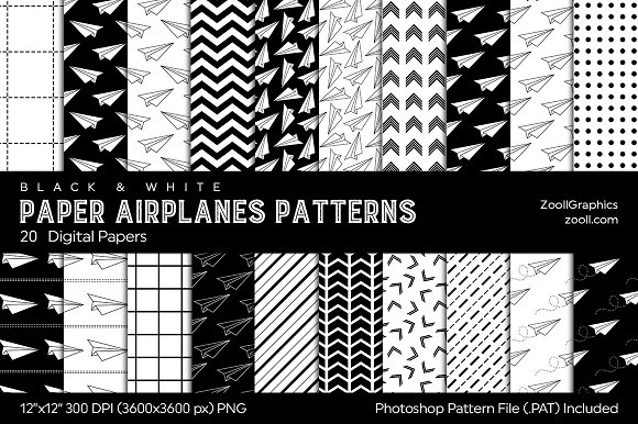 Paper Airplanes Digital Papers B W