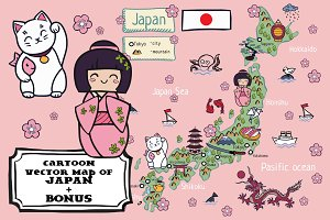 Cartoon map of Japan