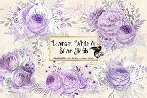 Lavender, White and Silver Florals