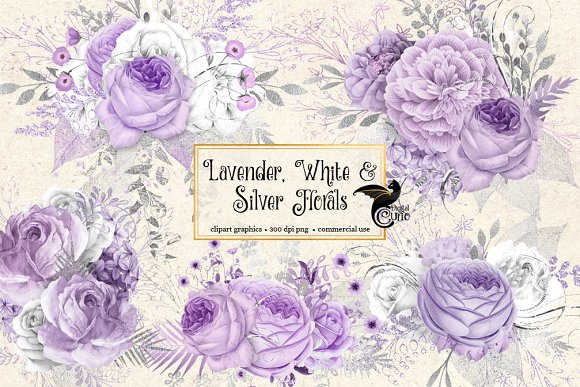 Lavender White And Silver Florals