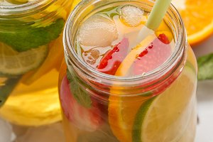 Fruit ice tea, ginger herbal ice tea