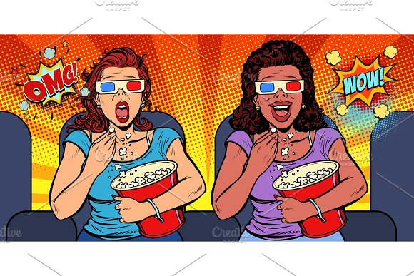 Two Women With 3D Glasses React Differently To The Movie Laughs
