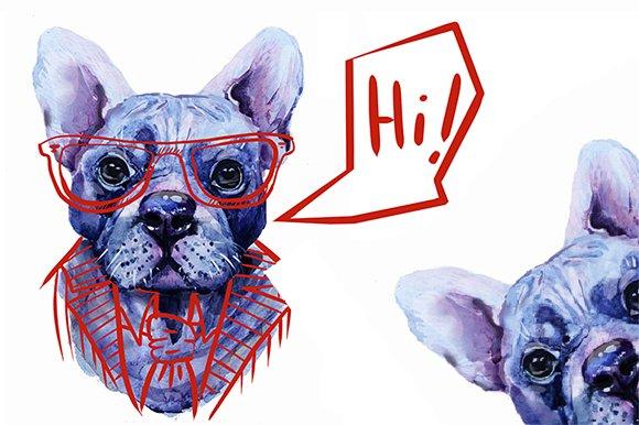 Real Watercolor French Bulldog