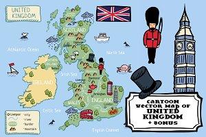Cartoon map of United Kingdom +bonus