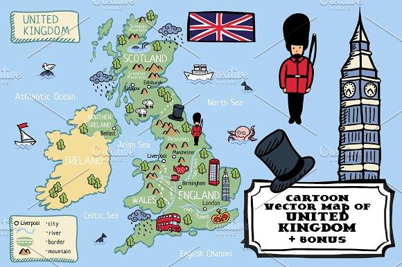 Cartoon Map Of United Kingdom Bonus Illustrations Creative Market