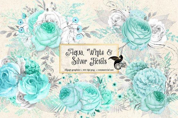 Aqua White And Silver Florals