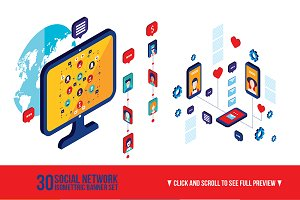 30 Social network infographic banner