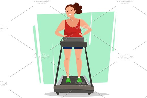 Fat Woman On Running Treadmill In Gym