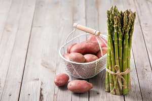 Asparagus and potatoes, vegetables