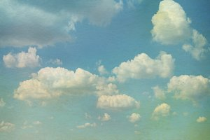 Sky with clouds in grunge textured