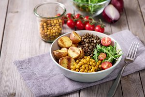 Vegan food bowl, healthy food