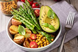 Vegan food with asparagus