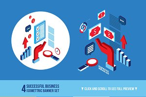 Successful business isometric banner