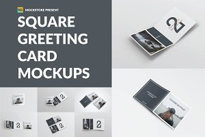 Square Greeting Card Mock-Ups